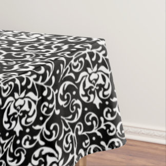 Black and White Tudor Gardens Floral Damask Tablecloth