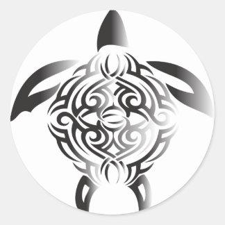 black-and-white-turtle classic round sticker