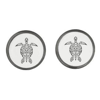 Black And White Turtles Animal Gunmetal Finish Cufflinks