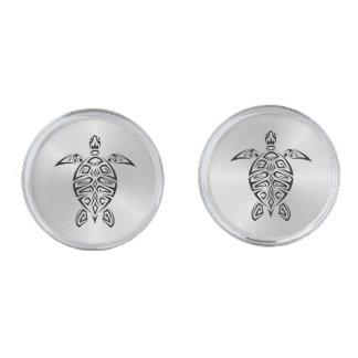 Black And White Turtles Animal Silver Finish Cufflinks