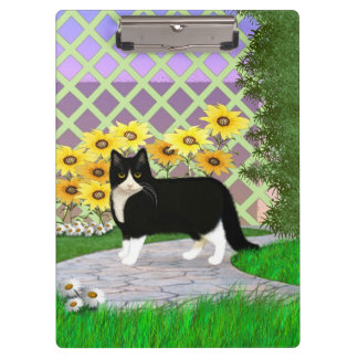 Black and White Tuxedo Cat in the Garden Clipboard