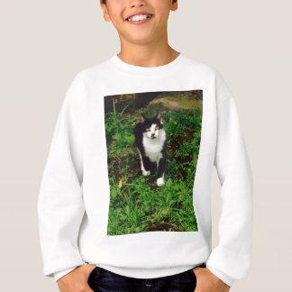 Black and white tuxedo cat in the green grass sweatshirt