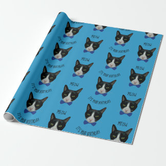 Black and White Tuxedo Cat - It's Your Birthday Wrapping Paper