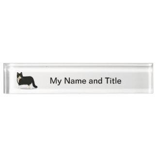 Black and White Tuxedo Cat Name Plate