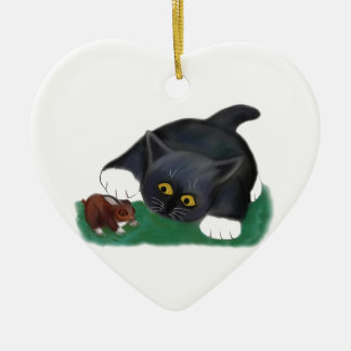 Black and White Tuxedo Kitten Pets his Friend, Bun Ceramic Ornament
