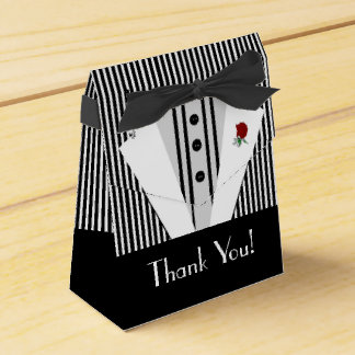 Black and White Tuxedo-Striped Wedding Favour Box