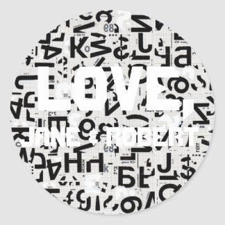 Black and White Type Wedding Round Sticker