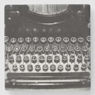 Black and White Typewriter Stone Beverage Coaster