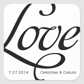 Black and White Typographic Love Sticker