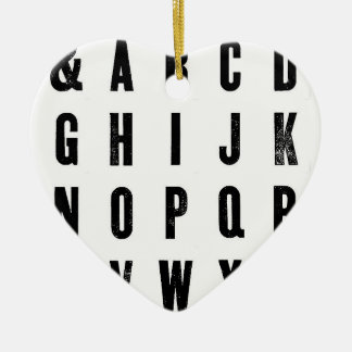 Black and White Typography Ceramic Heart Decoration