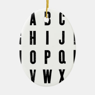Black and White Typography Ceramic Oval Decoration