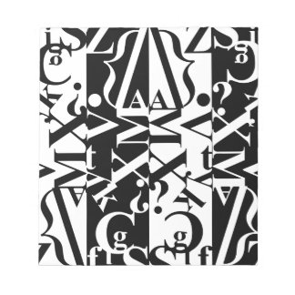 black-and-white typography notepads