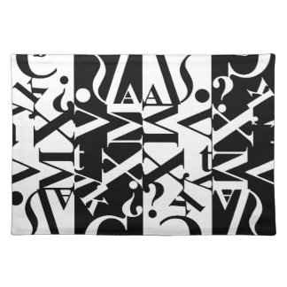 black-and-white typography place mats