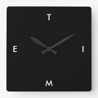 Black and White Typography Time Funny Minimalism Square Wall Clock