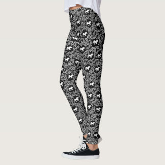 Black and White Unicorn and Leaf Pattern Leggings
