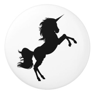 Black and White Unicorn Fairytale Knob