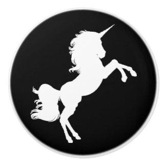 Black and White Unicorn Stars Fairytale Knob