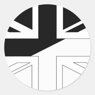 Black and White Union Jack British(UK) Flag Classic Round Sticker