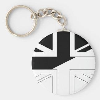Black and White Union Jack British(UK) Flag Key Chains