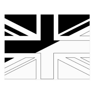 Black and White Union Jack British(UK) Flag Postcard