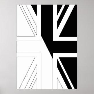 Black and White Union Jack British UK Flag Poster