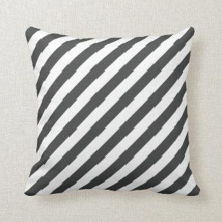 Black and White Unique Diagonal Striped Cushion