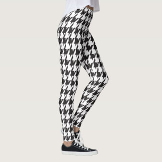 Black and White Urban Houndstooth Pattern Leggings
