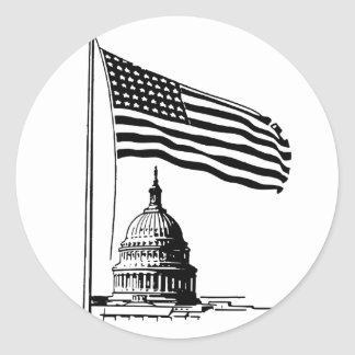 Black and White USA Classic Round Sticker