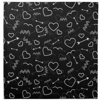 Black and White Valentines Love Heart and Arrow Napkin