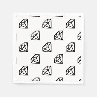 Black and white version of diamond paper napkins