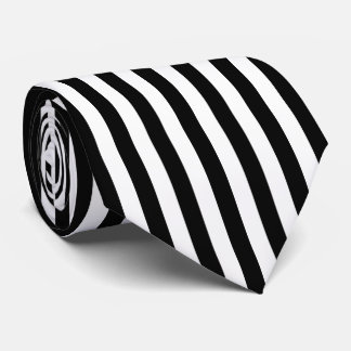 Black and White Vertical Referee Stripes Tie