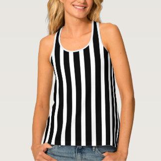 Black And White Vertical Stripes Pattern Singlet