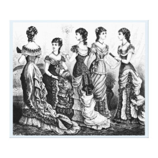 Black And White Victorian Fashions Canvas Prints