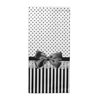 Black And White Victorian Stripes With Bow Napkins
