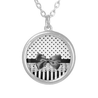 Black And White Victorian Stripes With Bow Round Pendant Necklace