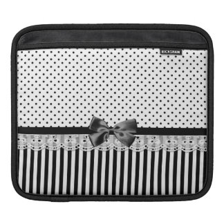 Black And White Victorian Stripes With Bow Sleeves For iPads