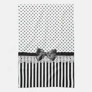 Black And White Victorian Stripes With Bow Tea Towel