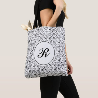 Black and White Victorian Swirls Monogram Tote Bag