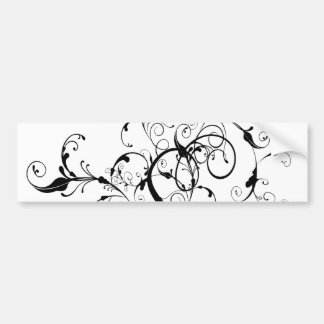 Black and White Vine or Tree Built with Flourishes Bumper Sticker