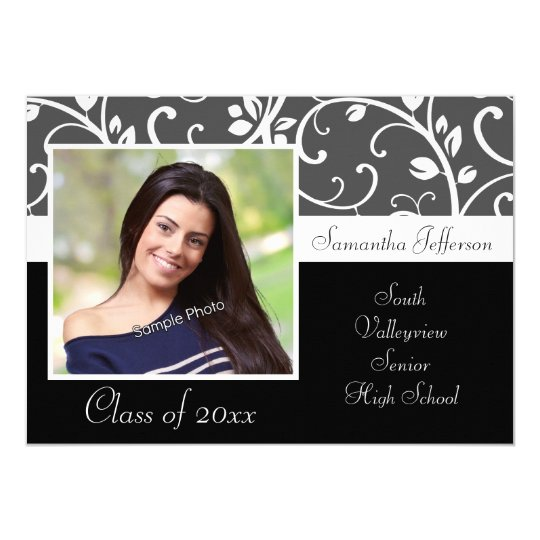 Black and White Vines Photo Graduation Card