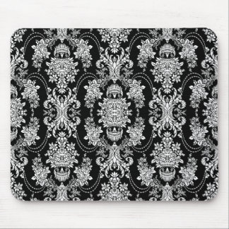 Black And White Vintage Baroque Floral Pattern Mouse Pad