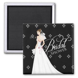 Black and White Vintage Bridal Shower Magnet