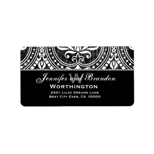 Black and White Vintage Damask Address Label