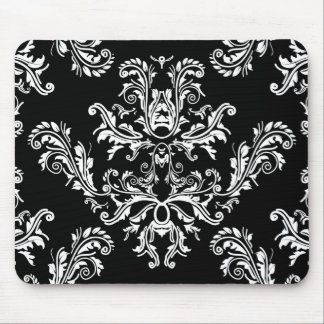 Black and white vintage damask mouse pad
