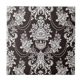 Black and white vintage  damask pattern customize ceramic tile