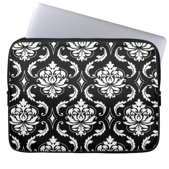 Black and White Vintage Damask Pattern Laptop Sleeve