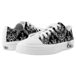 Black and White vintage damask pattern Low Tops