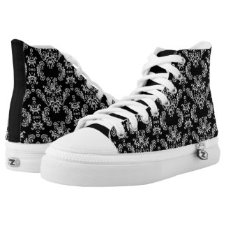 Black and White vintage damask pattern Printed Shoes