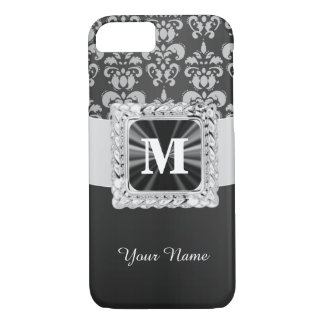 Black and white vintage damask personalized iPhone 7 case