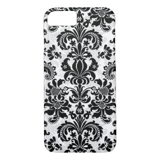 Black And White Vintage Floral Damask iPhone 7 Case
